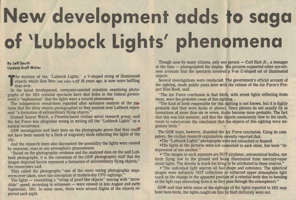 Les lumières de Lubbock Article1977